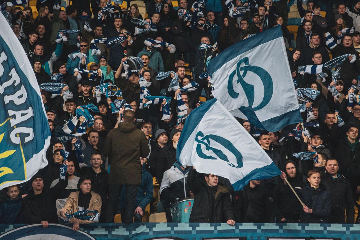 Киевские ультрас как всегда горячо поддерживали команду