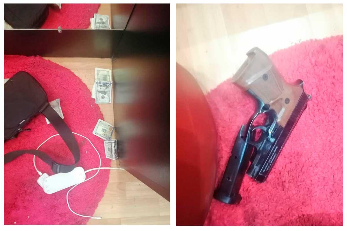 Когда он доставал деньги, сотрудники секс-шопа заметили в его кармане пистолет и, испугавшись, нажали тревожную кнопку